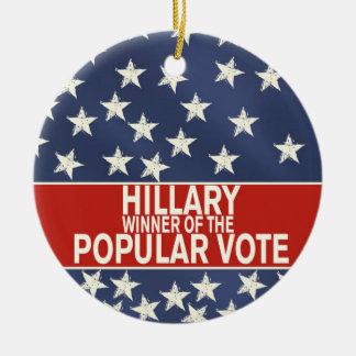 Ornement Rond En Céramique Hillary, gagnant du vote populaire !