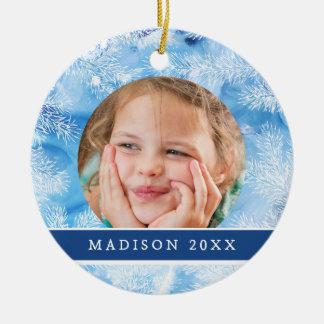 Ornement Rond En Céramique Hiver bleu de neige et de glace de Noël  