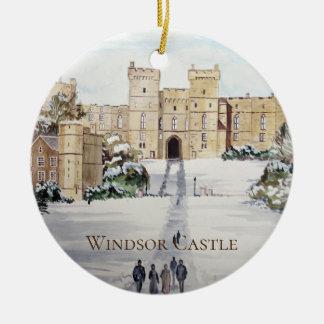 Ornement Rond En Céramique Hiver sur la peinture de paysage de château de