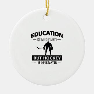 Ornement Rond En Céramique Hockey drôle