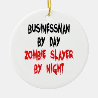 Ornement Rond En Céramique Homme d'affaires de tueur de zombi