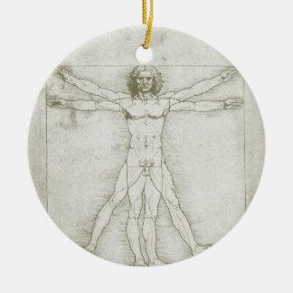 Ornement Rond En Céramique Homme de Vitruvian par Leonardo da Vinci