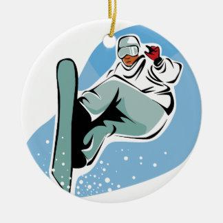 Ornement Rond En Céramique Homme frais de snowboarding