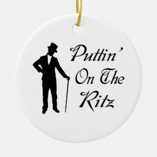 Ornement Rond En Céramique Homme pimpant Puttin sur le Ritz