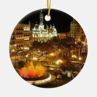 Ornement Rond En Céramique Horizon de nuit de Madrid