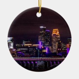 Ornement Rond En Céramique Horizon de nuit de Minneapolis