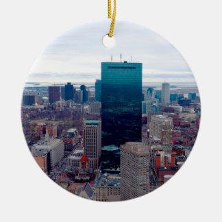 Ornement Rond En Céramique Horizon de ville de Boston