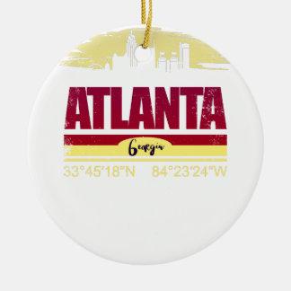 Ornement Rond En Céramique Horizon grunge d'Atlanta la Géorgie