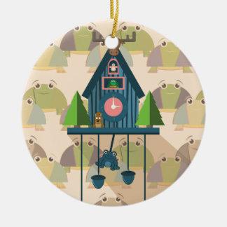 Ornement Rond En Céramique Horloge de coucou avec le papier peint de tortue