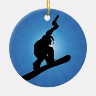 Ornement Rond En Céramique Hors-la-loi de surf des neiges