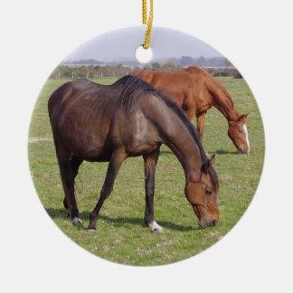 Ornement Rond En Céramique Horses - Chevaux