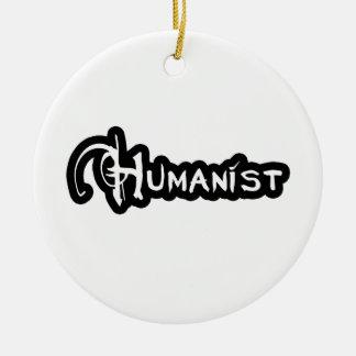 Ornement Rond En Céramique Humaniste en noir et blanc
