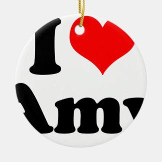 Ornement Rond En Céramique I coeur/amour Amy