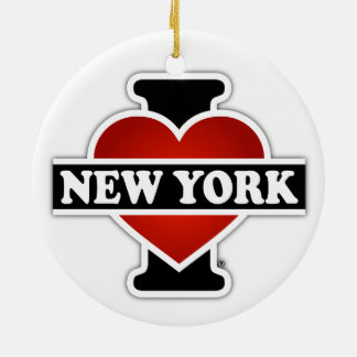 Ornement Rond En Céramique I coeur New York
