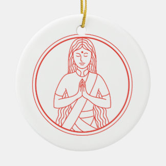 Ornement Rond En Céramique Icône de Namaste