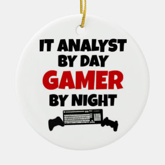 Ornement Rond En Céramique IL analyste par le Gamer de jour par nuit