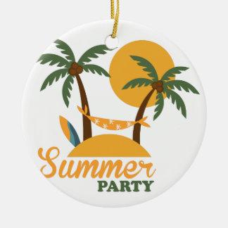 Ornement Rond En Céramique Île tropicale de vacances de vacances d'été avec