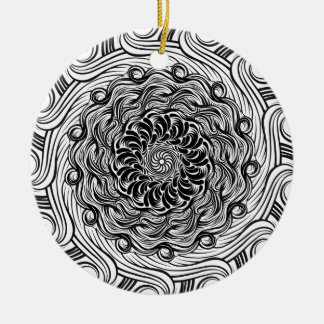 Ornement Rond En Céramique Illusion optique de griffonnage fleuri de zen