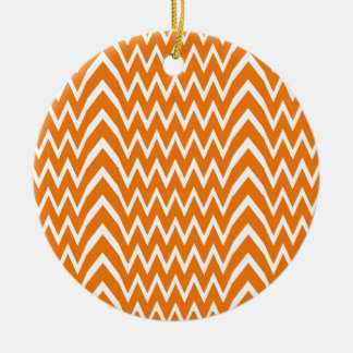 Ornement Rond En Céramique Illusion orange de Chevron