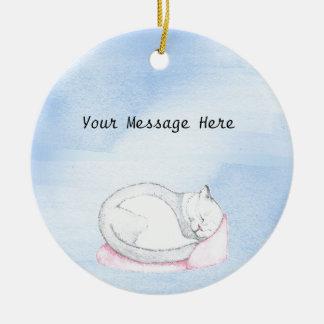 Ornement Rond En Céramique Illustration de chaton de sommeil