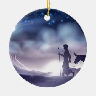 Ornement Rond En Céramique Illustration de Noël de nativité de Mary et de