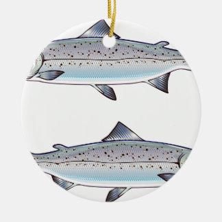 Ornement Rond En Céramique Illustration de poissons d'océan de saumon