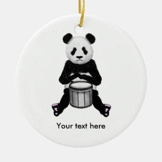 Ornement Rond En Céramique Illustration de tambour d'ours panda