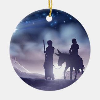 Ornement Rond En Céramique Illustration Mary et Joseph de Noël de nativité