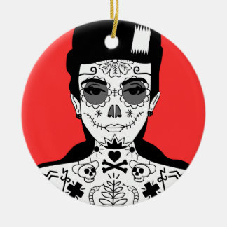 Ornement Rond En Céramique Illustration tatouée de portrait de fille