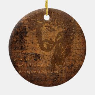 Ornement Rond En Céramique Image de Jésus et vers de John