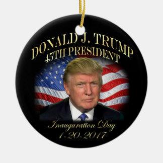 Ornement Rond En Céramique Inauguration du Président Donald Trump