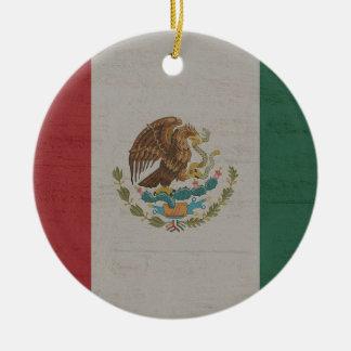 Ornement Rond En Céramique International de drapeau du Mexique