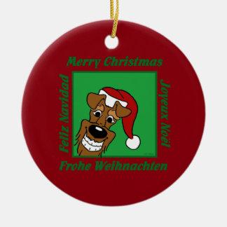 Ornement Rond En Céramique Irlandais terrier Noël