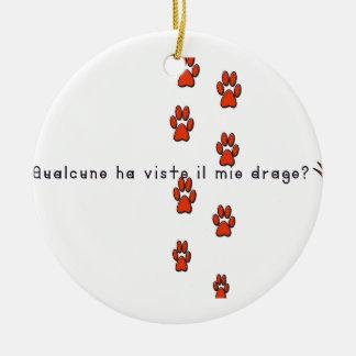 Ornement Rond En Céramique Italien-Dragon