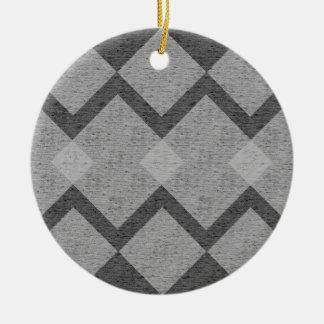 Ornement Rond En Céramique Jacquard gris
