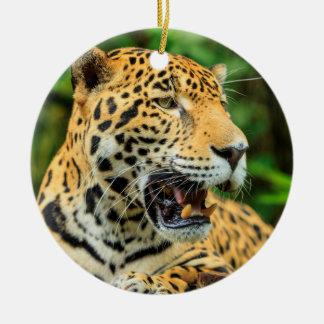 Ornement Rond En Céramique Jaguar montre ses dents, Belize