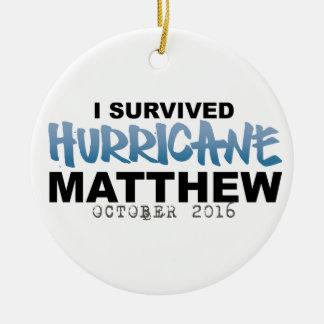 Ornement Rond En Céramique J'ai survécu ouragan Matthew en octobre 2016