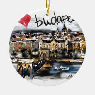 Ornement Rond En Céramique J'aime Budapest