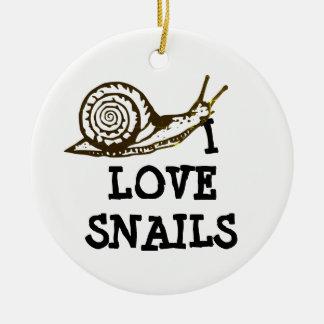 Ornement Rond En Céramique J'aime des escargots