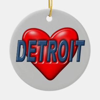 Ornement Rond En Céramique J'aime Detroit