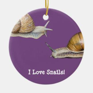 Ornement Rond En Céramique J'aime la conception d'escargot d'escargots