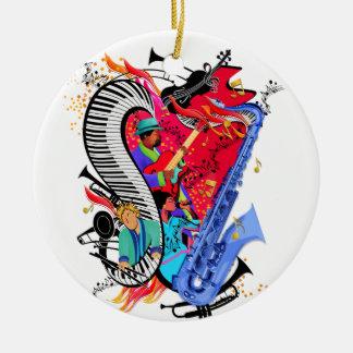 Ornement Rond En Céramique J'aime la copie colorée d'art de musiciens de