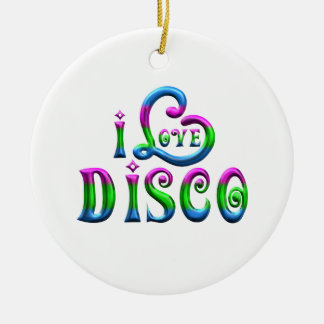 Ornement Rond En Céramique J'aime la disco