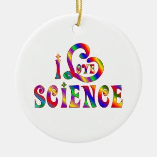 Ornement Rond En Céramique J'aime la Science