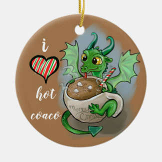 Ornement Rond En Céramique J'AIME la tasse chaude de Noël de dragon de bébé