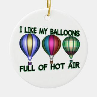 Ornement Rond En Céramique J'aime les ballons à air chauds
