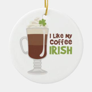 Ornement Rond En Céramique J'aime mon café irlandais