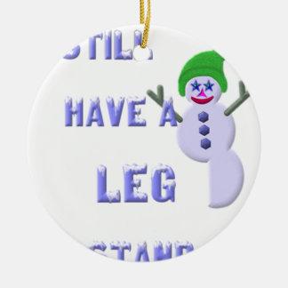 Ornement Rond En Céramique Jambe à tenir dessus, bonhomme de neige 2