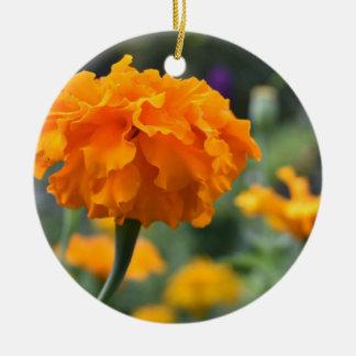 Ornement Rond En Céramique Jardin orange de photographie de nature de fleur