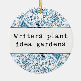 Ornement Rond En Céramique Jardins floraux d'idée d'usine d'auteurs du bleu